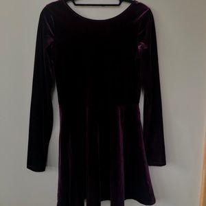 Velvet Maroon Skater Dress
